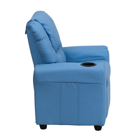 Contemporary Light Blue Vinyl Kids Recliner with Cup Holder and Headrest - DG-ULT-KID-LTBLUE-GG