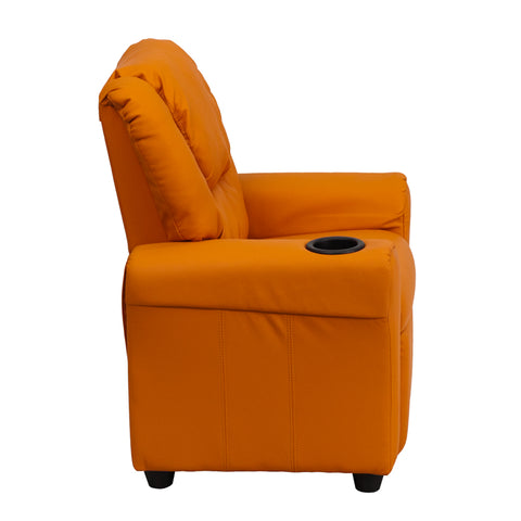 Contemporary Orange Vinyl Kids Recliner with Cup Holder and Headrest - DG-ULT-KID-ORANGE-GG