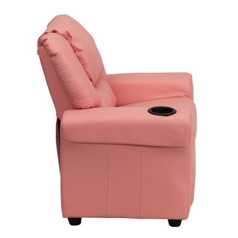 Contemporary Pink Vinyl Kids Recliner with Cup Holder and Headrest - DG-ULT-KID-PINK-GG