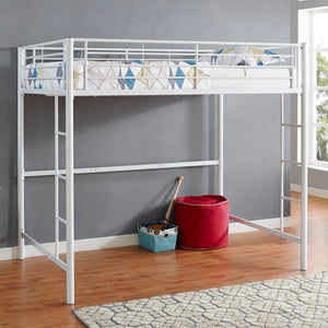 Premium Metal Full Size Loft Bed - White