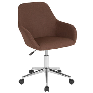 Cortana Home and Office Mid-Back Chair in Brown Fabric