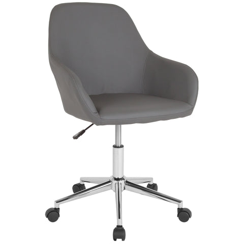 Cortana Home and Office Mid-Back Chair in Gray Leather