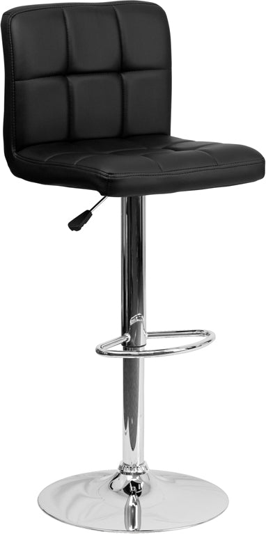 Contemporary Black Quilted Vinyl Adjustable Height Barstool with Chrome Base - DS-810-MOD-BK-GG