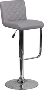 Contemporary Gray Vinyl Adjustable Height Barstool with Chrome Base - DS-8101-GY-GG