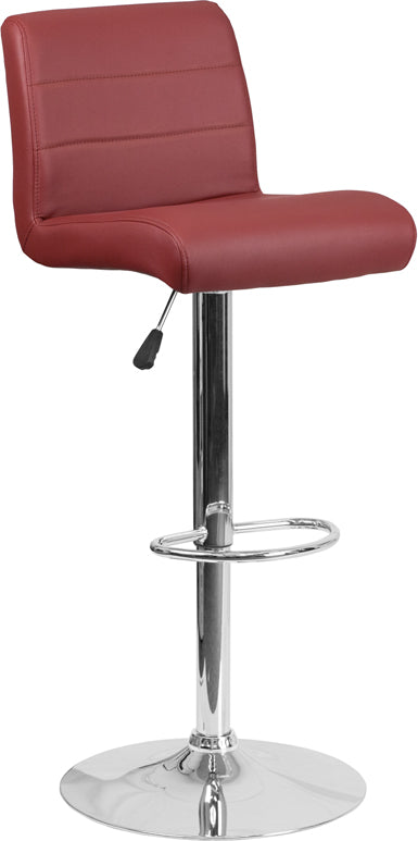 Contemporary Burgundy Vinyl Adjustable Height Barstool with Chrome Base - DS-8101B-BG-GG
