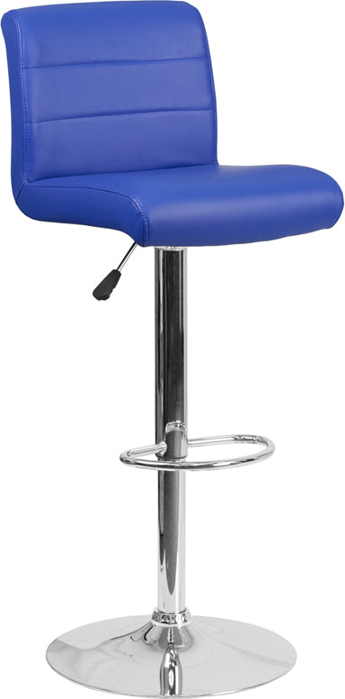 Contemporary Blue Vinyl Adjustable Height Barstool with Chrome Base - DS-8101B-BL-GG
