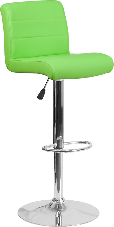 Contemporary Green Vinyl Adjustable Height Barstool with Chrome Base - DS-8101B-GN-GG