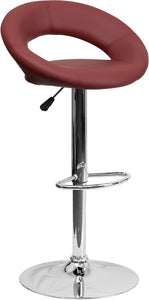 Contemporary Burgundy Vinyl Rounded Back Adjustable Height Barstool with Chrome Base - DS-811-BURG-GG