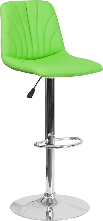 Contemporary Green Vinyl Adjustable Height Barstool with Chrome Base - DS-8220-GN-GG