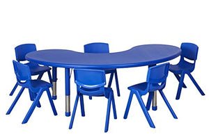 "65"" Kidney Resin Table & 6x12"" Chairs - Blue (Pack of 1)"