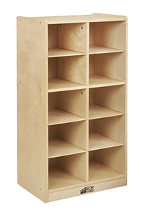 Birch 10 Cubby Tray Cabinet w/ Clear Bins (Pack of 1)