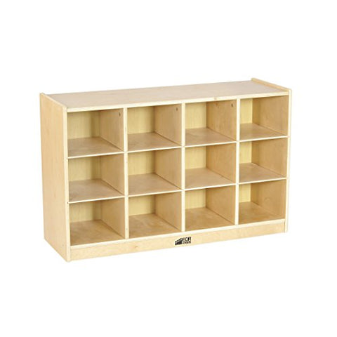 Birch 12 Cubby Tray Cabinet w/ Clear Bins (Pack of 1)