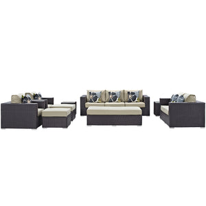 Convene 9 Piece Outdoor Patio Sofa Set - Espresso Beige