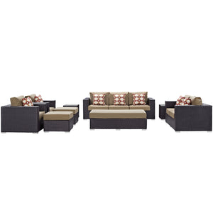 Convene 9 Piece Outdoor Patio Sofa Set - Espresso Mocha