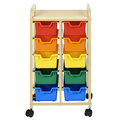 10-Bin Mobile Organizer, Sand, Assorted Bins
