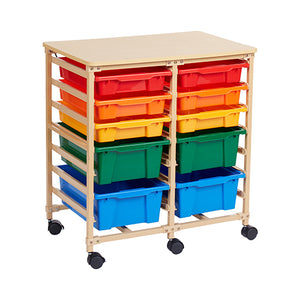10-Tray Mobile Organizer, Sand, Assorted Bins