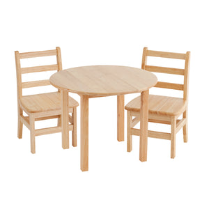 30in Round Hardwood Table with 18in Leg and Two 12in Chairs