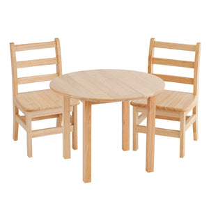 30in Round Hardwood Table with 22in Leg and Two 14in Chairs
