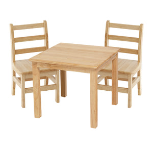 24in Square Hardwood Table with 22in Leg and Two 14in Chairs