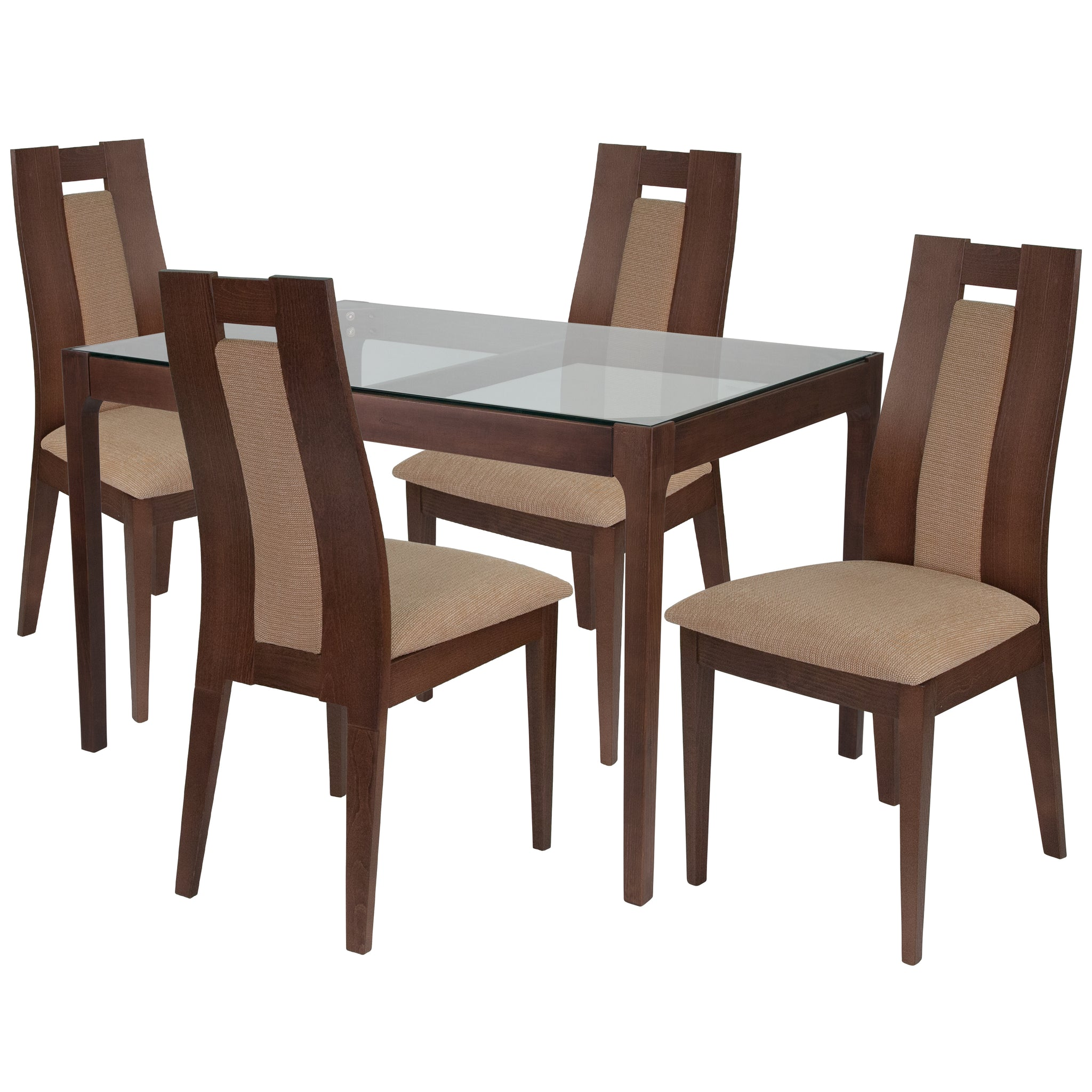 Bishop 5 Piece Walnut Wood Dining Table Set with Glass Top and Curved Slat Wood Dining Chairs - Padded Seats