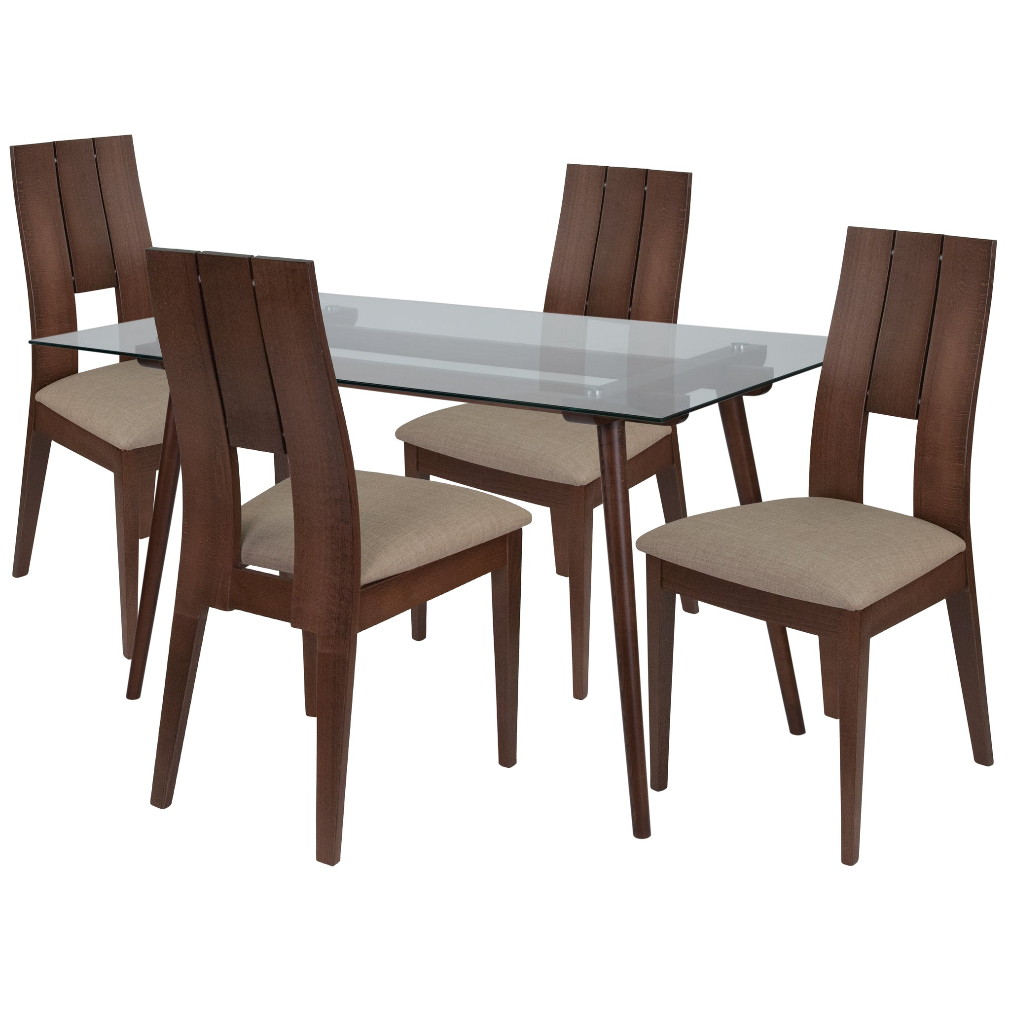 Carson 5 Piece Walnut Wood Dining Table Set with Glass Top and Curved Slat Keyhole Back Wood Dining Chairs - Padded Seats