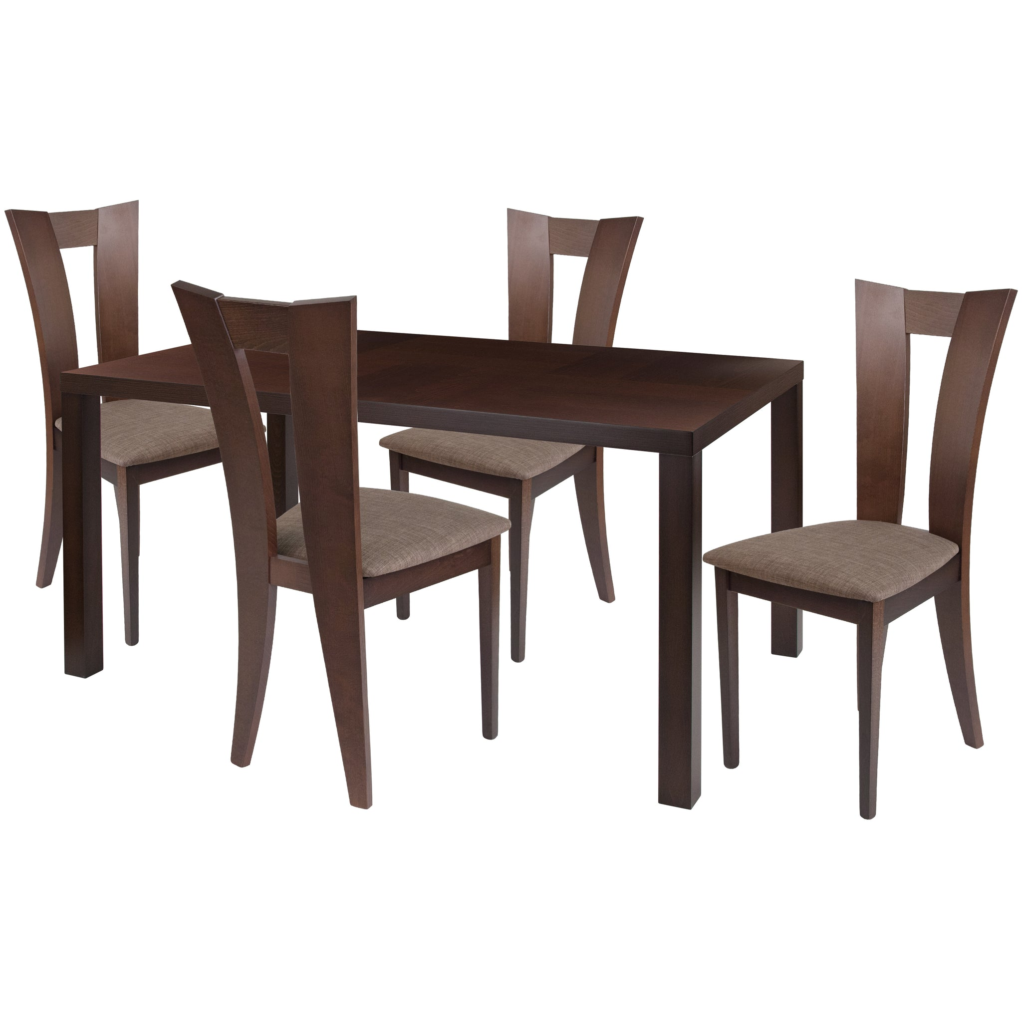 Ardley 5 Piece Espresso Wood Dining Table Set with Slotted Back Wood Dining Chairs - Padded Seats