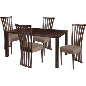 Addison 5 Piece Espresso Wood Dining Table Set with Dramatic Rail Back Design Wood Dining Chairs - Padded Seats