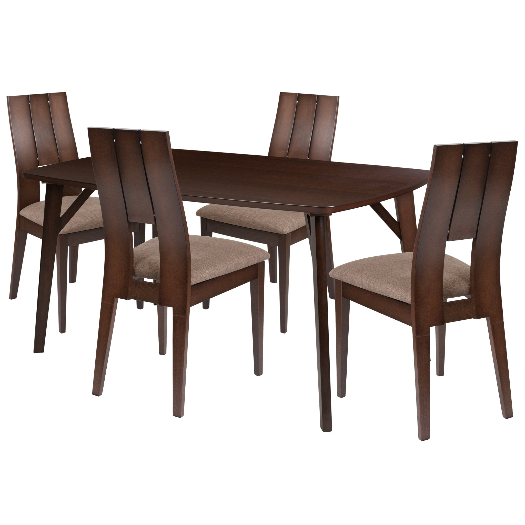 Anderson 5 Piece Espresso Wood Dining Table Set with Curved Slat Keyhole Back Wood Dining Chairs - Padded Seats