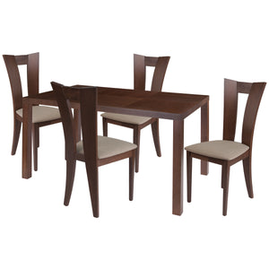 Ardley 5 Piece Walnut Wood Dining Table Set with Slotted Back Wood Dining Chairs - Padded Seats