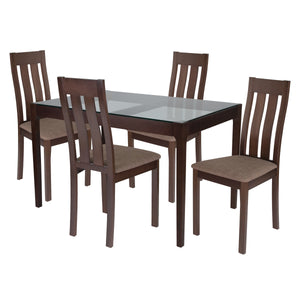 Belvedere 5 Piece Espresso Wood Dining Table Set with Glass Top and Vertical Slat Back Wood Dining Chairs - Padded Seats