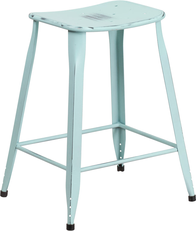 23.75'' High Distressed Green-Blue Metal Indoor-Outdoor Counter Height Saddle Comfort Stool