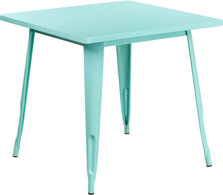 31.5'' Square Mint Green Metal Indoor-Outdoor Table - ET-CT002-1-MINT-GG