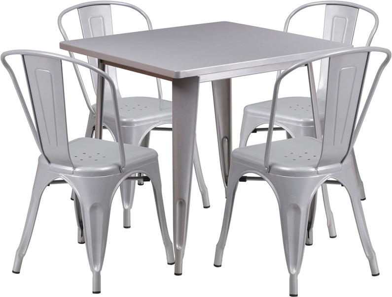 31.5'' Square Silver Metal Indoor-Outdoor Table Set with 4 Stack Chairs