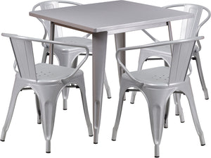 31.5'' Square Silver Metal Indoor-Outdoor Table Set with 4 Arm Chairs - ET-CT002-4-70-SIL-GG