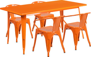 31.5'' x 63'' Rectangular Orange Metal Indoor-Outdoor Table Set with 4 Arm Chairs - ET-CT005-4-70-OR-GG