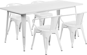 31.5'' x 63'' Rectangular White Metal Indoor-Outdoor Table Set with 4 Arm Chairs - ET-CT005-4-70-WH-GG