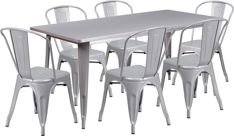 31.5'' x 63'' Rectangular Silver Metal Indoor-Outdoor Table Set with 6 Stack Chairs - ET-CT005-6-30-SIL-GG