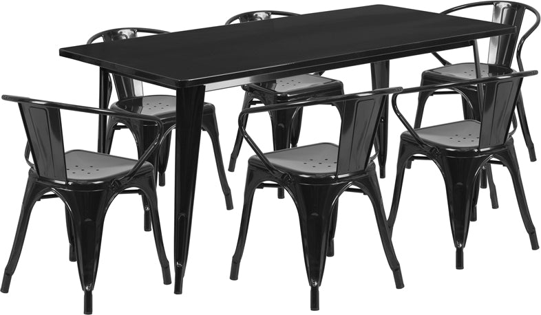 31.5'' x 63'' Rectangular Black Metal Indoor-Outdoor Table Set with 6 Arm Chairs