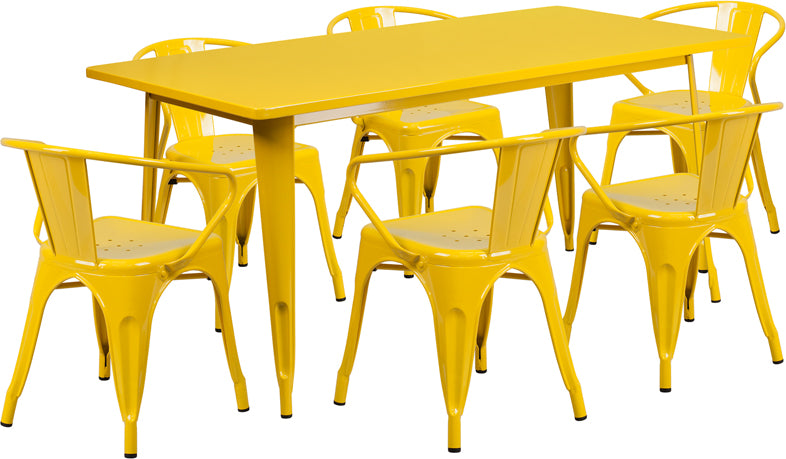 31.5'' x 63'' Rectangular Yellow Metal Indoor-Outdoor Table Set with 6 Arm Chairs - ET-CT005-6-70-YL-GG