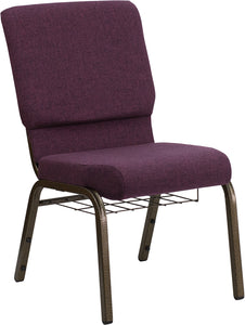 HERCULES Series 18.5''W Church Chair in Plum Fabric with Cup Book Rack - Gold Vein Frame - FD-CH02185-GV-005-BAS-GG
