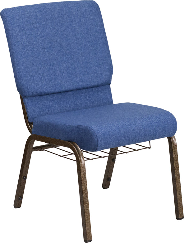 HERCULES Series 18.5''W Church Chair in Blue Fabric with Cup Book Rack - Gold Vein Frame - FD-CH02185-GV-BLUE-BAS-GG