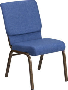 HERCULES Series 18.5''W Stacking Church Chair in Blue Fabric - Gold Vein Frame - FD-CH02185-GV-BLUE-GG