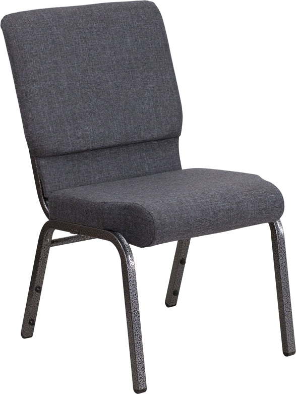 HERCULES Series 18.5''W Stacking Church Chair in Dark Gray Fabric - Silver Vein Frame - FD-CH02185-SV-DKGY-GG