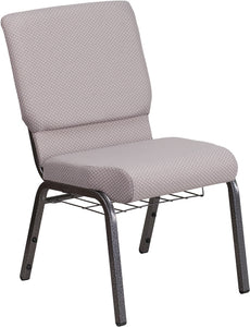 HERCULES Series 18.5''W Church Chair in Gray Dot Fabric with Book Rack - Silver Vein Frame - FD-CH02185-SV-GYDOT-BAS-GG