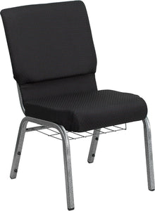 HERCULES Series 18.5''W Church Chair in Black Patterned Fabric with Cup Book Rack - Silver Vein Frame - FD-CH02185-SV-JP02-BAS-GG