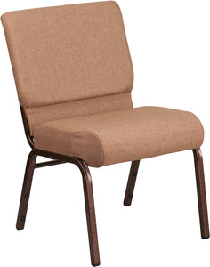 HERCULES Series 21''W Stacking Church Chair in Caramel Fabric - Copper Vein Frame - FD-CH0221-4-CV-BN-GG