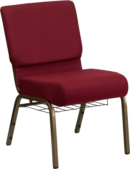 HERCULES Series 21''W Church Chair in Burgundy Fabric with Cup Book Rack - Gold Vein Frame - FD-CH0221-4-GV-3169-BAS-GG