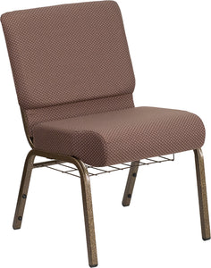 HERCULES Series 21''W Church Chair in Brown Dot Fabric with Book Rack - Gold Vein Frame - FD-CH0221-4-GV-BNDOT-BAS-GG