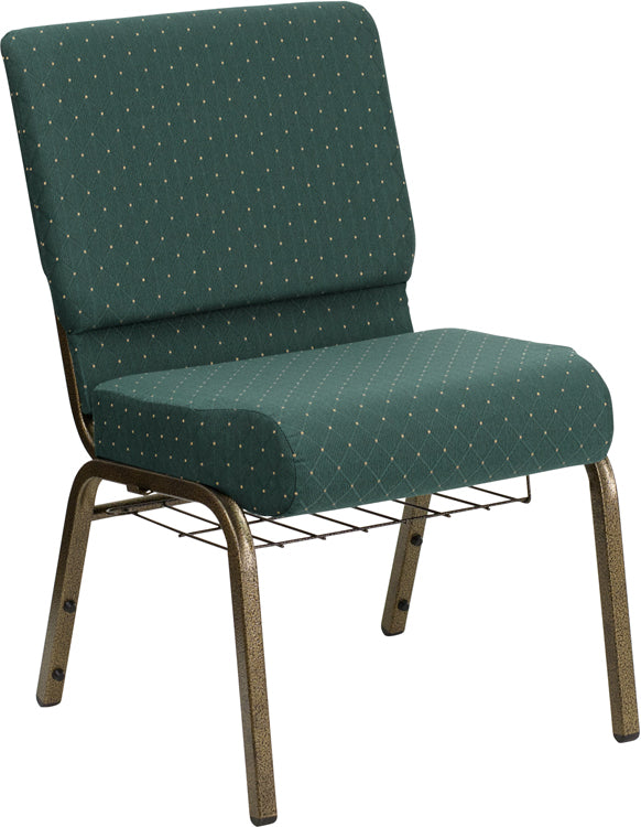 HERCULES Series 21''W Church Chair in Hunter Green Dot Patterned Fabric with Book Rack - Gold Vein Frame - FD-CH0221-4-GV-S0808-BAS-GG