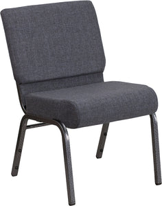 HERCULES Series 21''W Church Chair in Dark Gray Fabric - Silver Vein Frame - FD-CH0221-4-SV-DKGY-GG